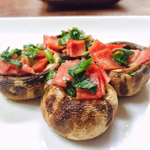 Spanish Turkey Bacon Stuffed Mushroom Tapas
