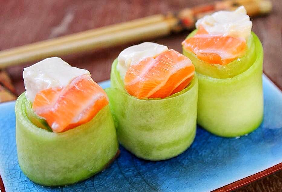 Japanese Salmon and Cream Cheese Philly Cucumber Roll Recipe