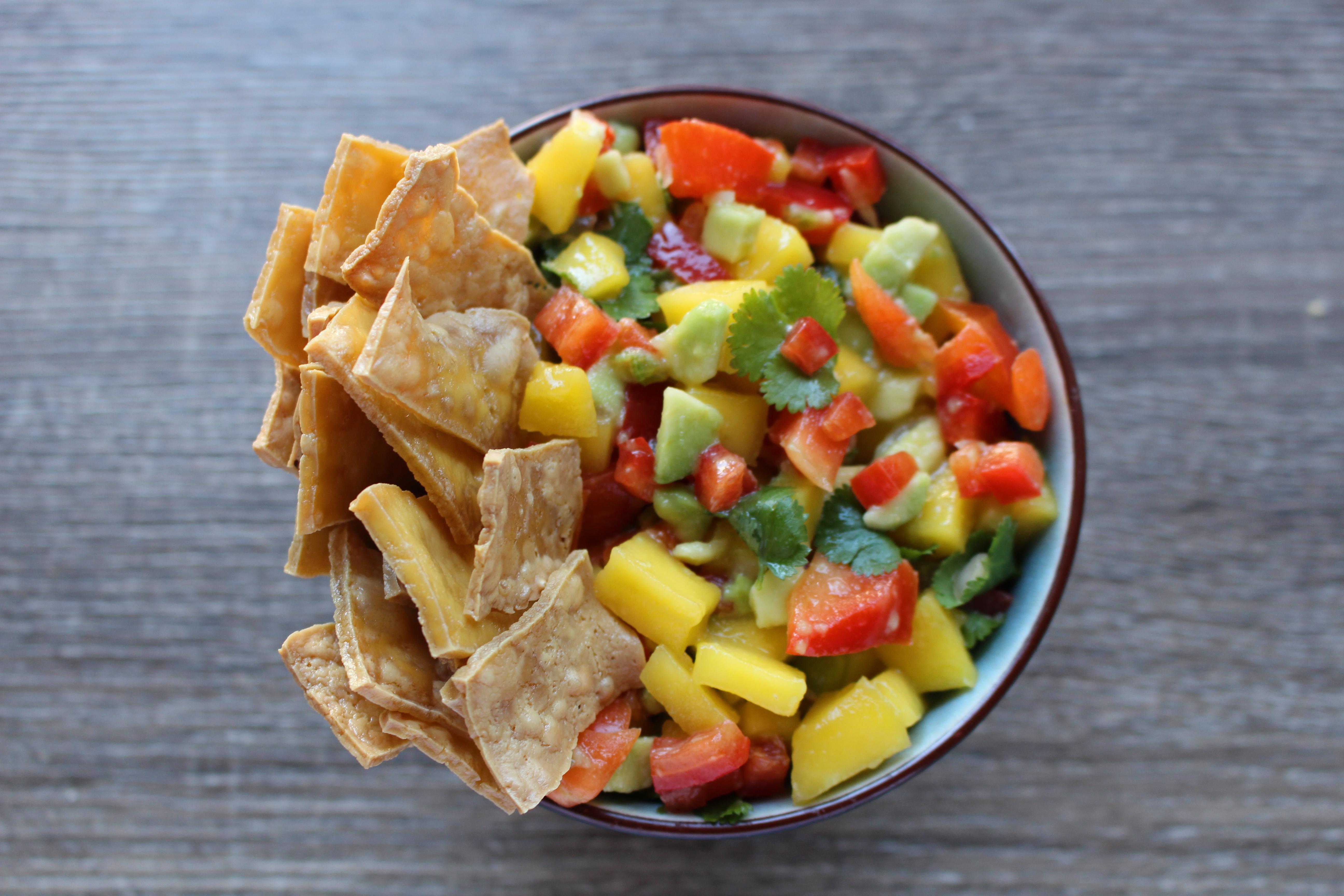 mango salsa with tofu chips