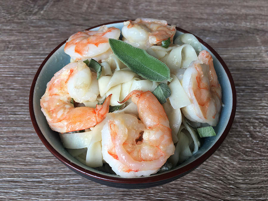 Sage, Butter, and Parmesan Cheese (Low Carb) Fettuccini with Shrimp Recipe