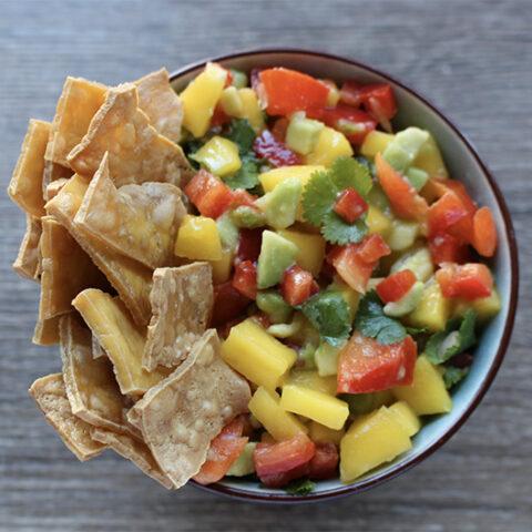 American Tofu Chips & Mango Salsa