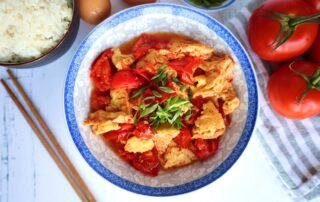 Check out this popular Chinese Egg Tomato Stir-Fry that includes the ingredients eggs, tomatoes, salt, sesame oil, monk fruit sugar, and green onions. This is one of my favorite comfort meals
